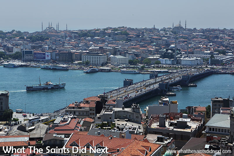 View from the top of the Galata Tower, Istanbul Turkey - the Galata Bridge.