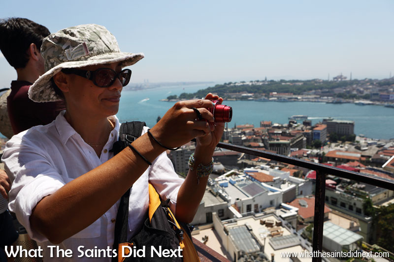What The Saints Did Next photographing the view from the top of the Galata Tower looking over Istanbul - too many photo opportunities from this high vantage point.