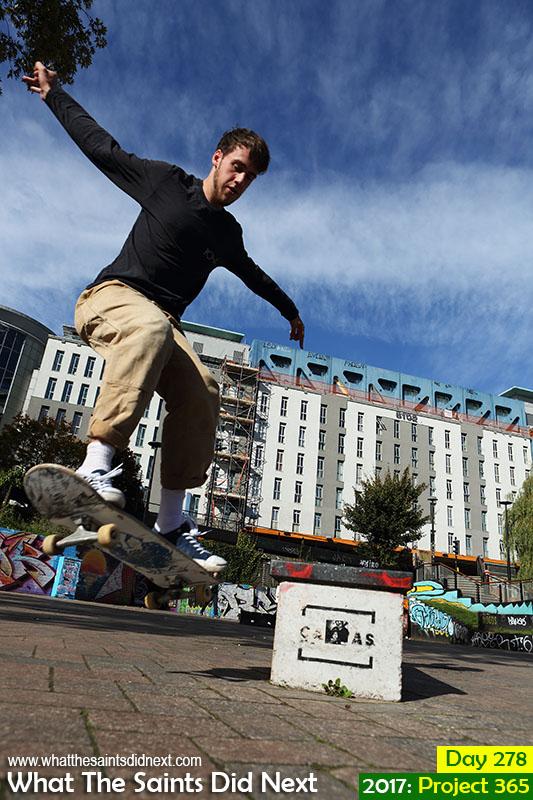 'Don't work too hard'<br /> 5 October, 2017, 14:55 - 1/640, f8, ISO-200<br /> Skateboarder practising tricks in the Bear Pit, Bristol, UK.