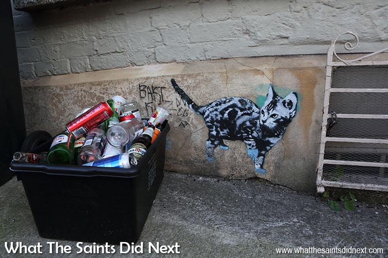 Graffiti art stencil used to paint a life-sized cat.