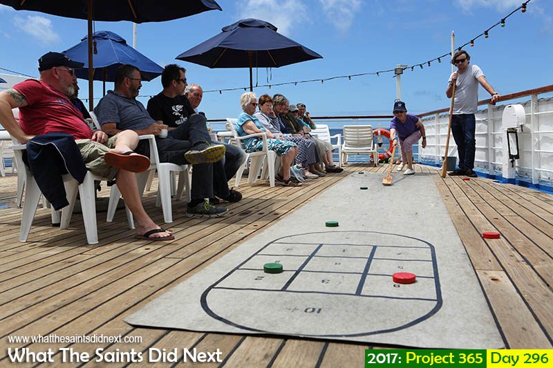 'Toxicity'<br /> 23 October 2017, 11:22 - 1/500, f8, ISO-200<br /> Shuffleboard game underway on the sun deck of the RMS while at sea.