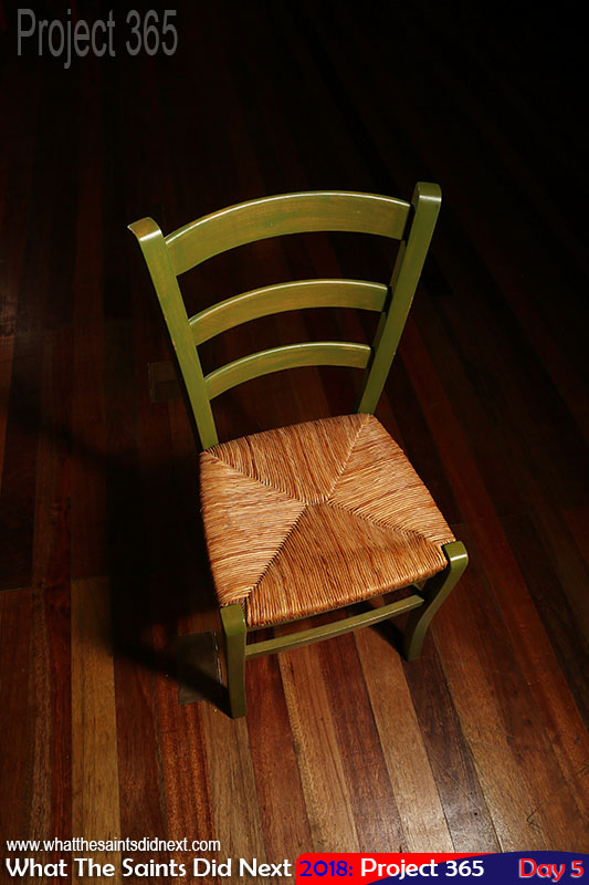Wooden chair lighting test before photo shoot. January, 2018.