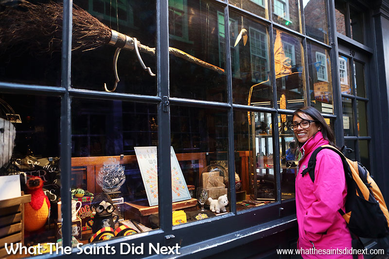 One of the popular shops in York city centre - 'The Shop That Must Not Be Named', The Shambles Harry Potter shop displaying a Nimbus broomstick in the shop window.