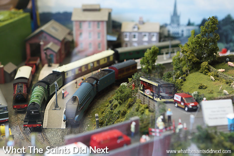 "York model railway a working train set kept us entertained in the <a href=""http://www.monkbarmodelshop.co.uk/"" target=""_blank"" rel=""noopener"">Monk Bar Model toy shop</a> window."