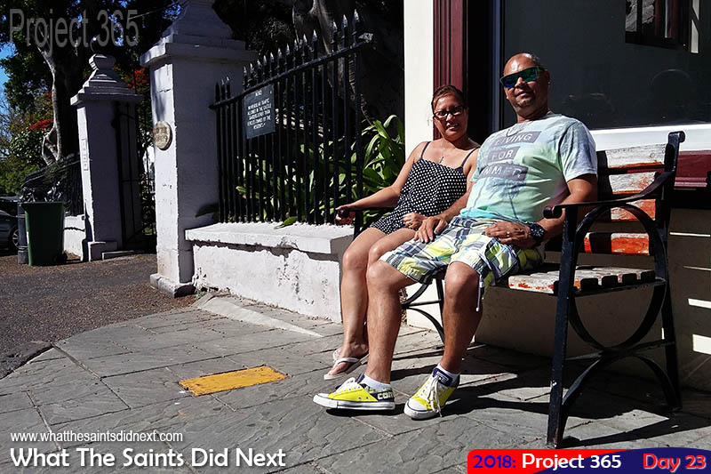 Holiday makers catching the sun in town. January 2018.