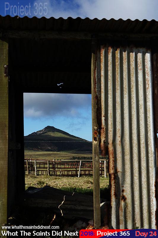 Flagstaff through the cattle pounds of Deadwood Plain, St Helena.