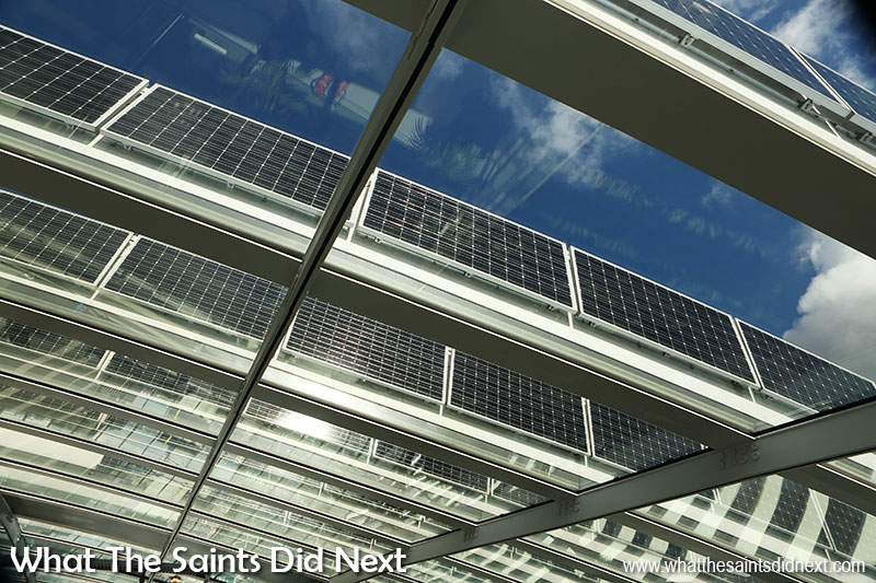 Green energy, what else for the Sky Garden. Solar panels line up right across the roof top.
