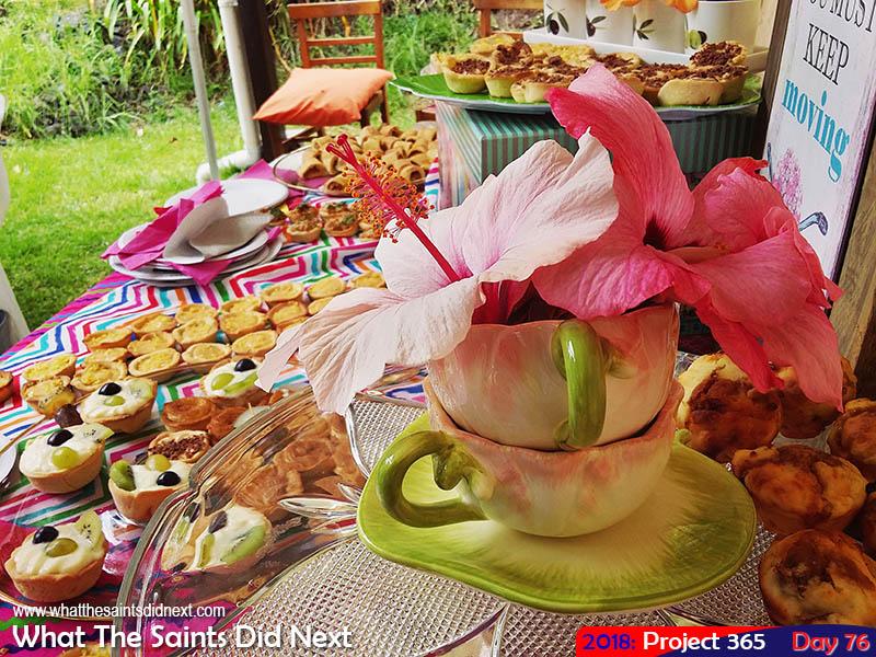 Tasty eats at a garden tea party.