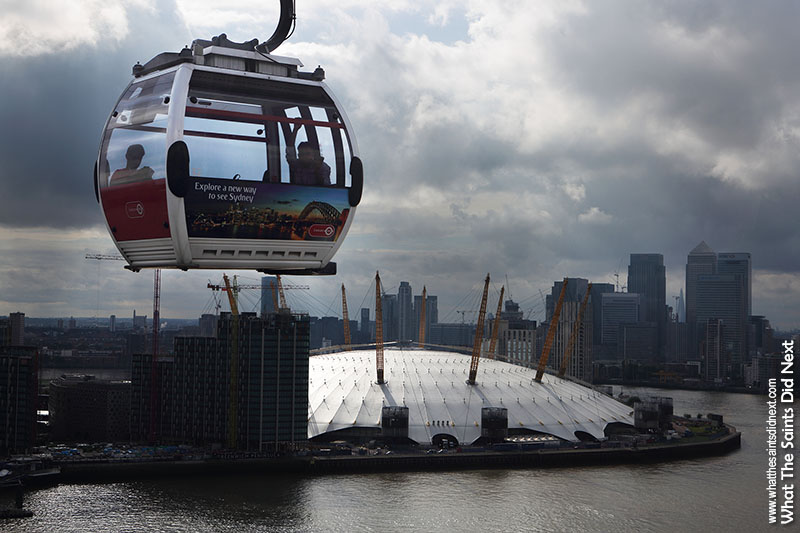 Things To Do In London - flying the Emirates Air Line with great views over the Millennium Dome (O2 Arena) and Canary Wharf skyscrapers.