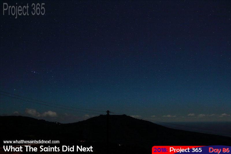 Night sky full of stars over High Knoll Fort.