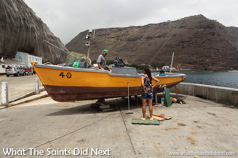 One of the boats Charlie built about 40 years ago, the 'Me Ansum' currently on the wharf in Jamestown for maintenance but still an active fishing boat. Time-Lapse: The St Helena Boat Builder