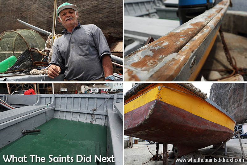 One of the boats Charlie built about 40 years ago, the 'Me Ansum' still in great condition. Pictured here on the wharf in Jamestown for maintenance with its current owner (top left) Robin Moyce, aka 'Bimboo.' Time-Lapse: The St Helena Boat Builder