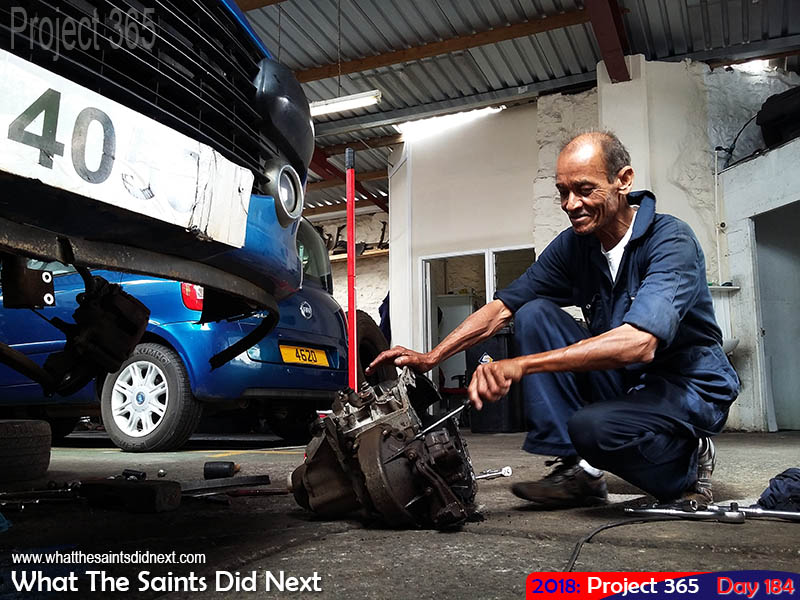 Mechanic at work in the Solomons Garage.