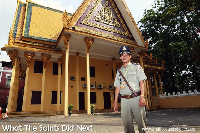 Street photography tips - using flash in the day. This security guard at the Royal Palace, Phnom Penh was a perfect model.