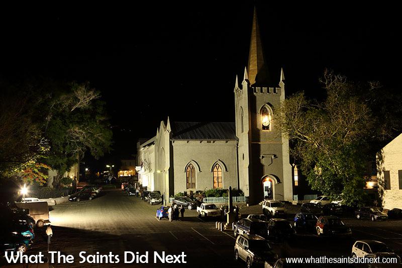 Churches of St Helena - St James' church at night.
