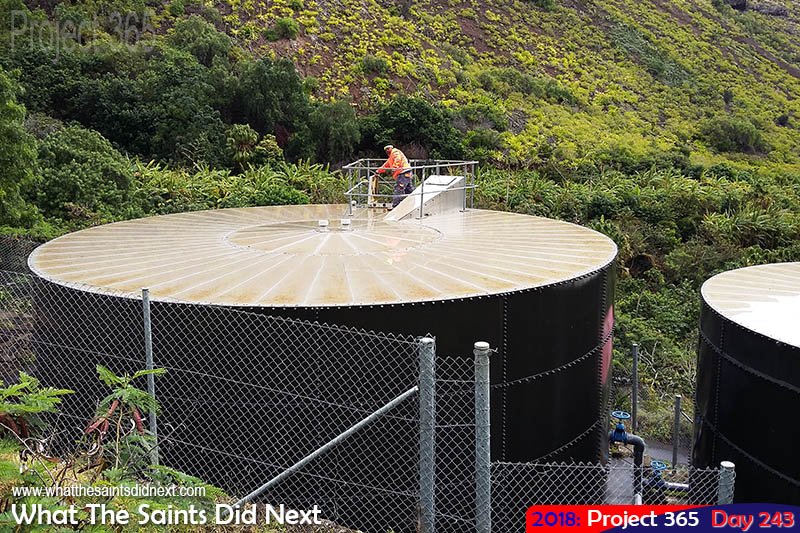 Water storage tanks at the top of Jamestown, St Helena.