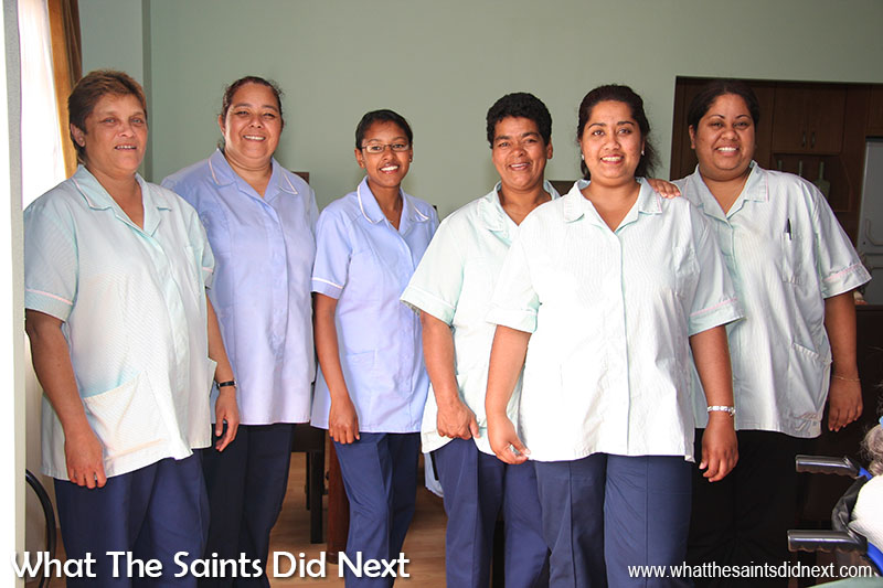 A few of the first staff working at the CCC on St Helena, on the very first day residents moved in.