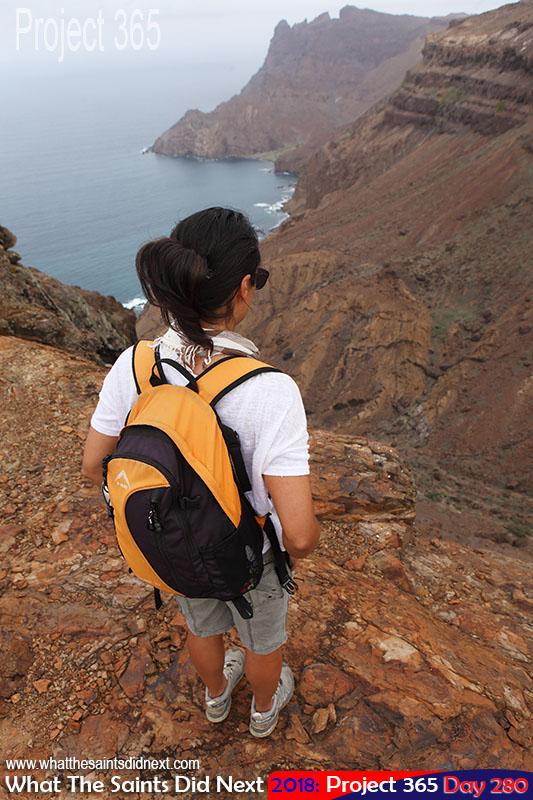 Hiking the island's volcanic terrain.