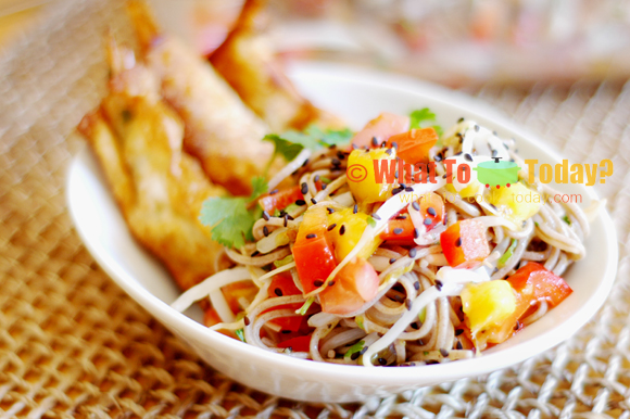 SOBA NOODLES SALAD WITH SWEET SHRIMP ROLLS