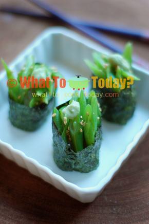 GREEN BEAN SUSHI BOATS