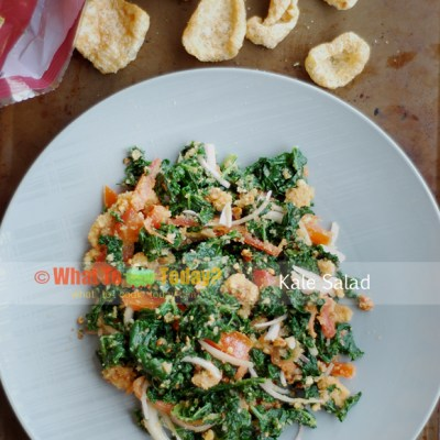 KALE SALAD WITH CRISPY PORK SKIN