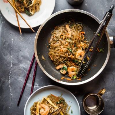 Japchae (Korean Sweet Potato Glass Noodle Stir-fry)