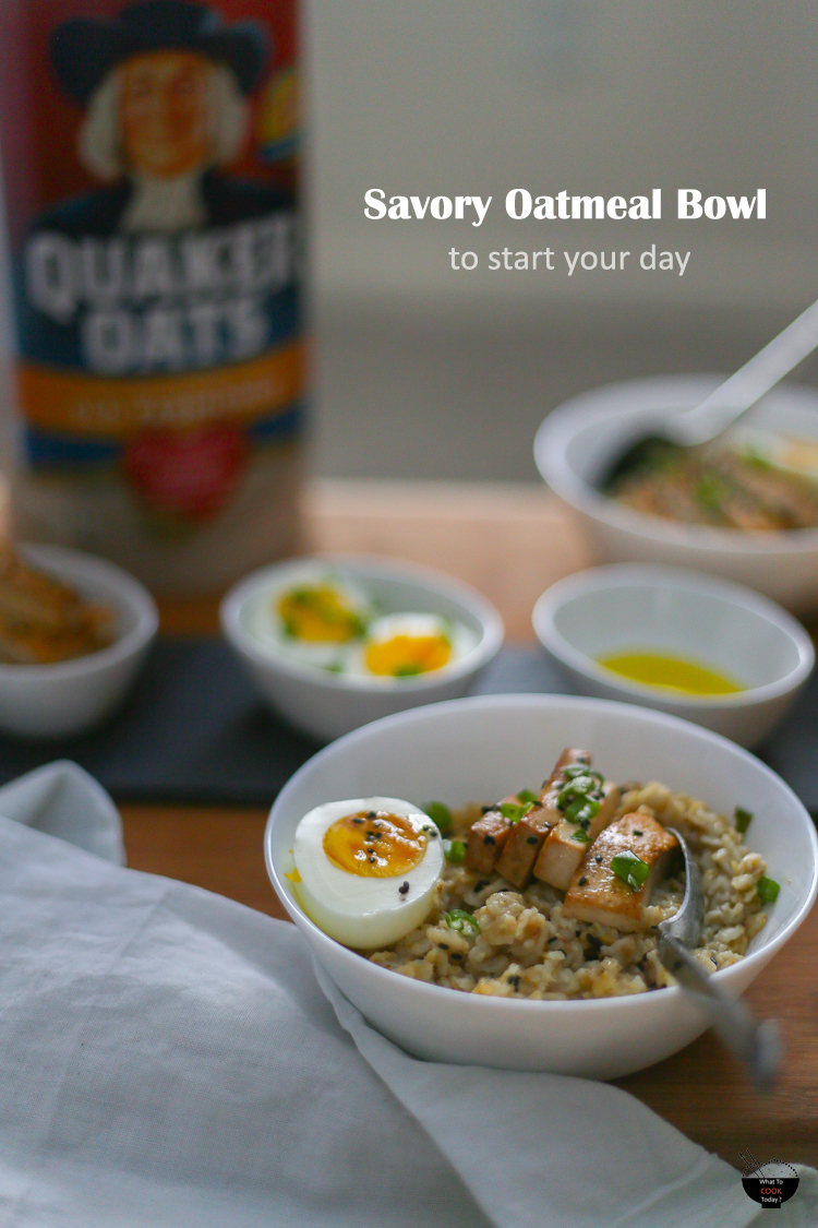 Savory oatmeal bowl to start your day. Discover how you can include savory toppings on your oatmeal #bringyourbestbowl #target #ad