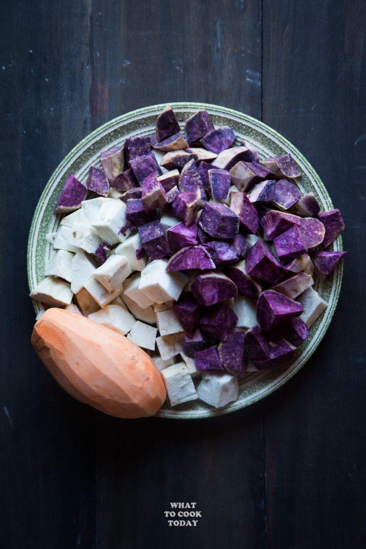 ube, tapioca, sweet potato