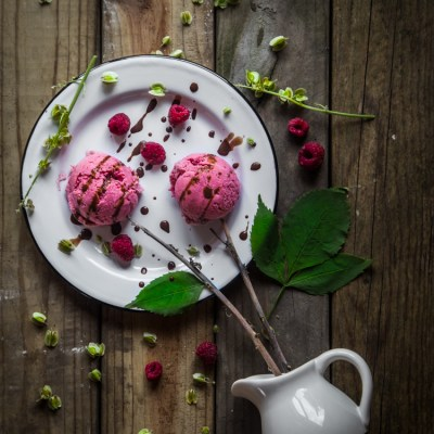 Rhubarb raspberry coconut milk ice cream