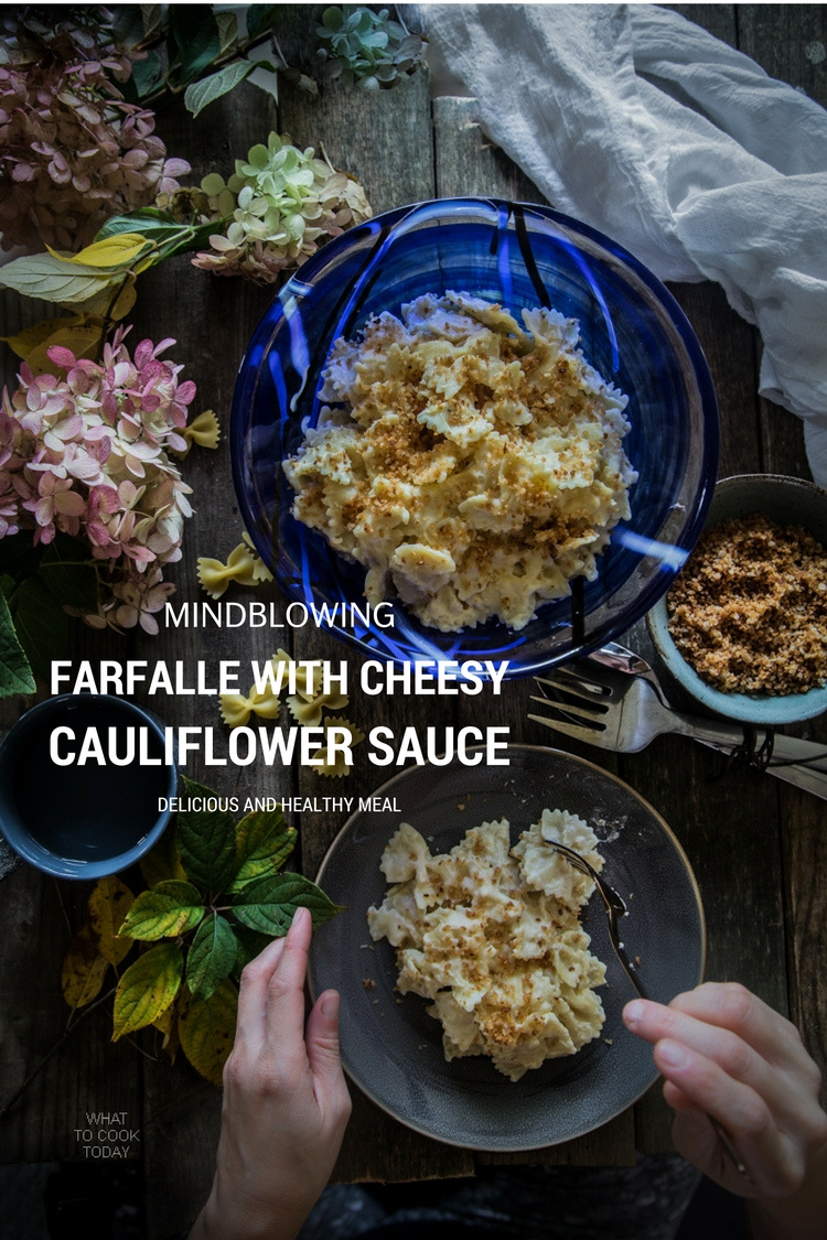 Farfalle with cheesy cauli sauce. So good you won't believe the sauce is made of cauliflower