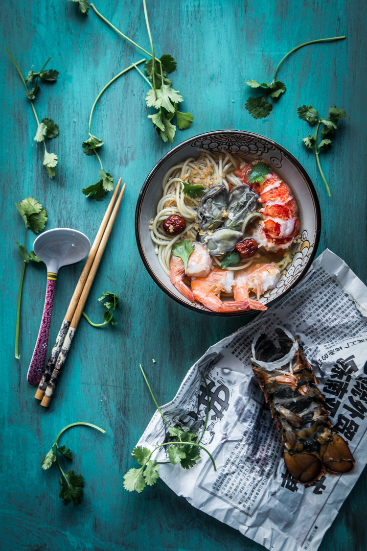Seafood Noodle in Ginger Garlic Broth