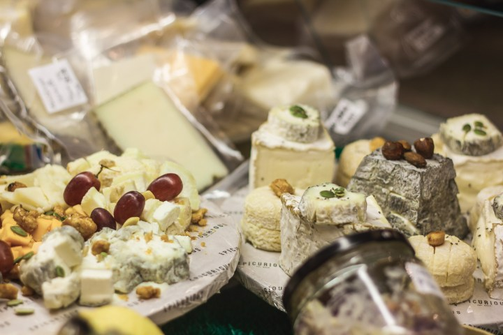 Assorted cheeses on a platter