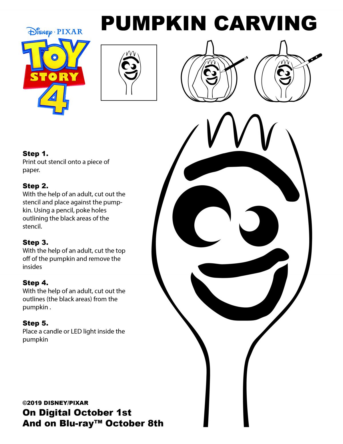 Forky Pumpkin Carving Stencil From Toy Story 4 Review