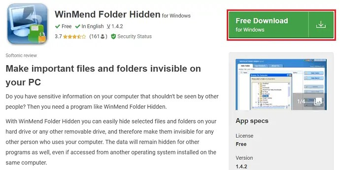 Download page of WinMend