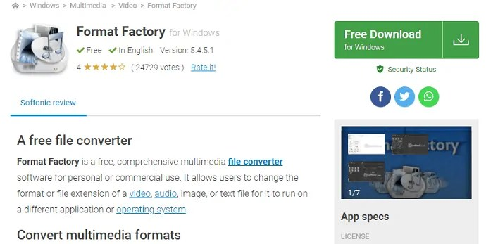 Format factory software