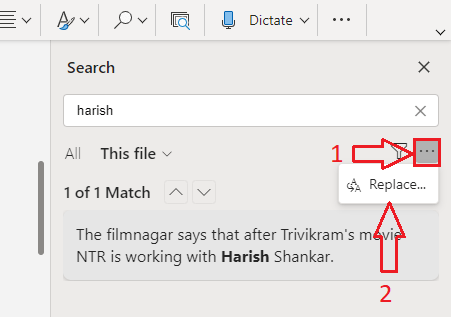 How to use find and replace in a word? 5