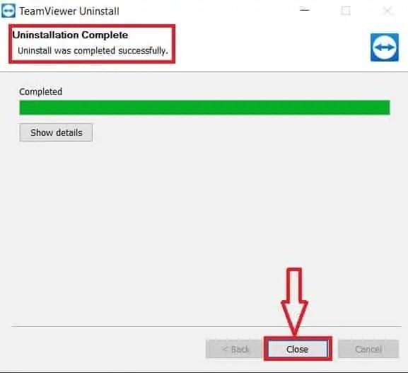 TeamViewer Uninstall complete