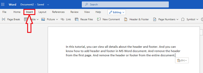 How to Insert or Remove Header and footer in MS Word? 2