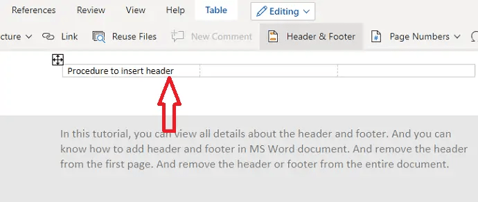 How to Insert or Remove Header and footer in MS Word? 4