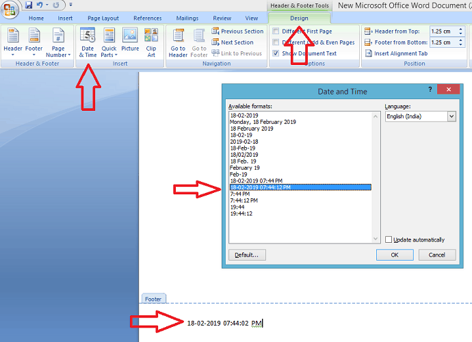 Insert date and time on word document