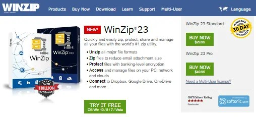 WInZIP features