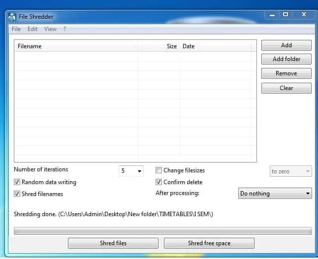 Alternate File Shredder Start up page