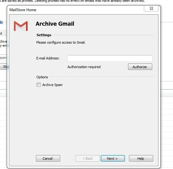 Authorizing your Gmail on MailStore