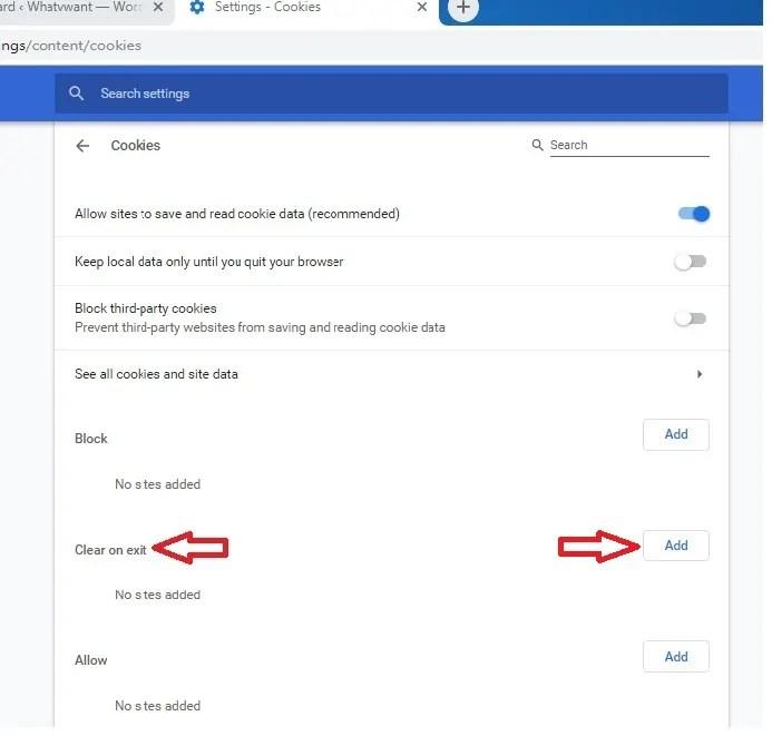 Clear on exit option on Google Chrome
