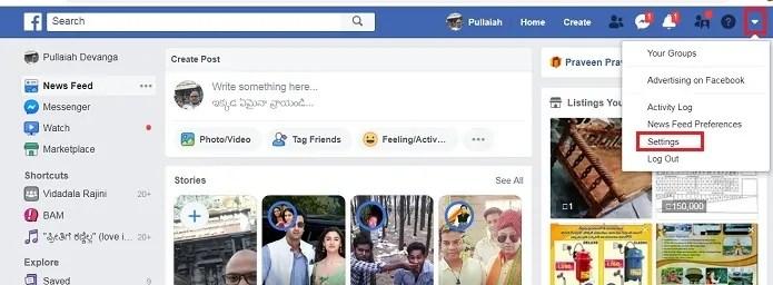 Obtaining Settings option on Facebook