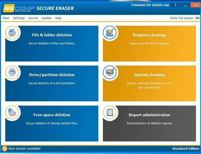 Secure Eraser startup page