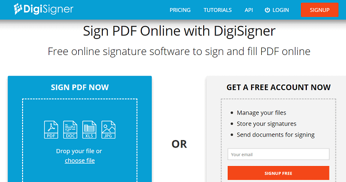 DigiSigner-HomePage-To-add-signature-to-your-PDF-document