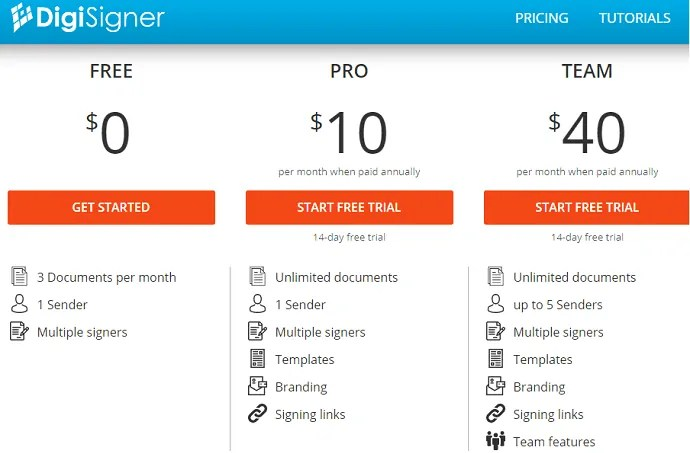 DigiSigner-Plans and Pricings