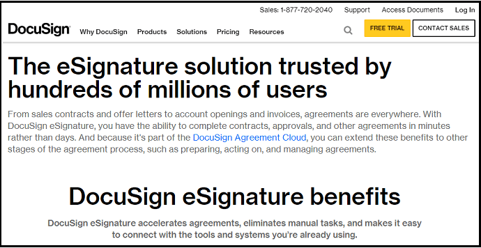 DocuSign-Online Signature-Software-Site-HomePage