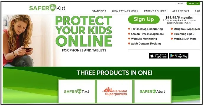 SaferKid-Text-Monitoring-Parental-Control App web-page-for-iPhone-users